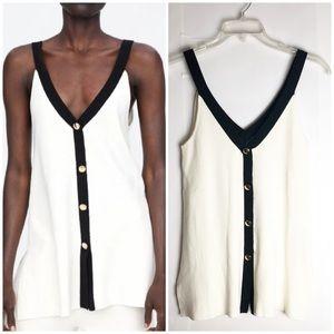 New Zara Knit Contrast Camisole Top Black Cream M